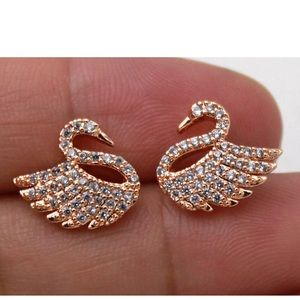 Beautiful Gold Filled Swan Topaz Zirconia Earrings